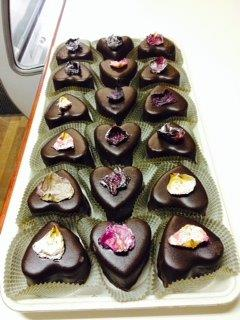 Chocolate hearts with candied rose petals