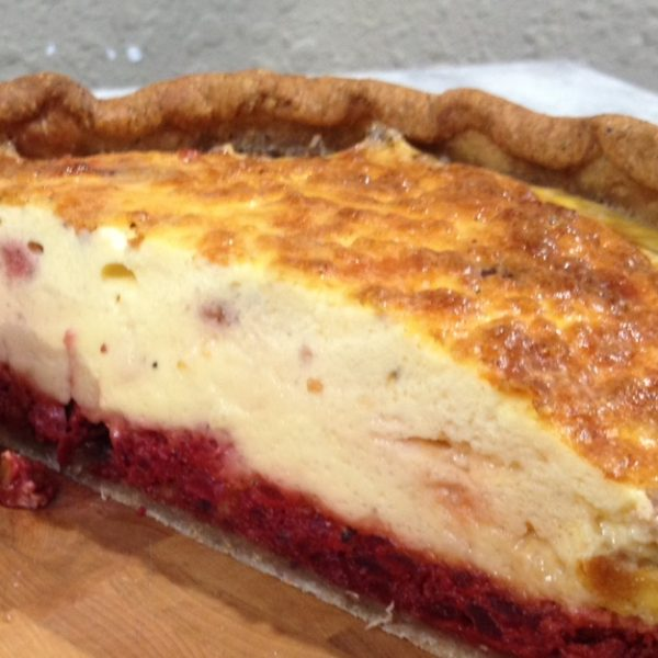 Quiche with beets, blue cheese & walnuts